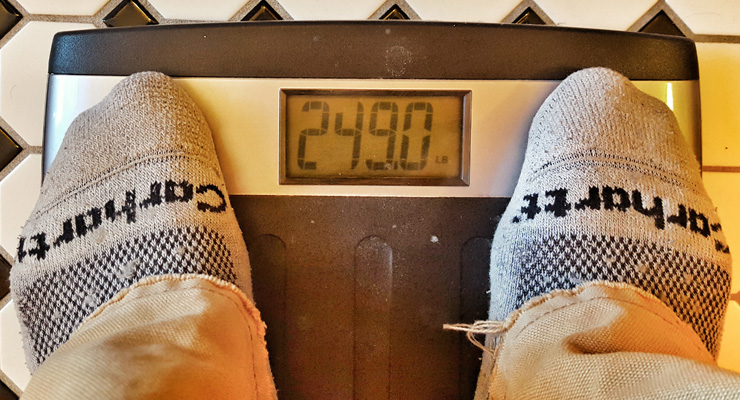 My weight on January 1, 2016. Very little of it is muscle.